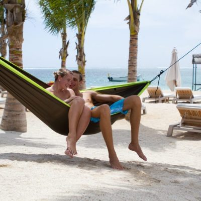 Double travel hammock green