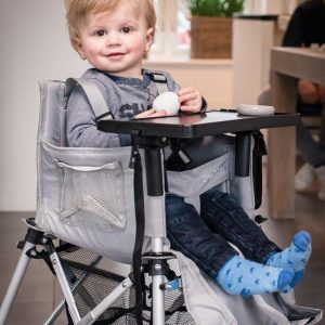 FOLDING TRAVEL HIGH CHAIR SILVER