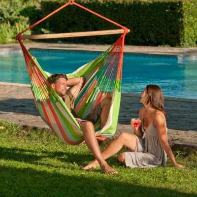 Longer hammock chair Domingo Coral - weatherproof